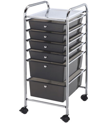 Storage Cart with 6 Drawers-Smoke