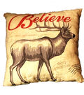 Holiday Cheer Believe With Deer Pillow