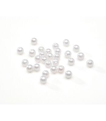 6mm Round Pearl Beads, White, 120pcs.