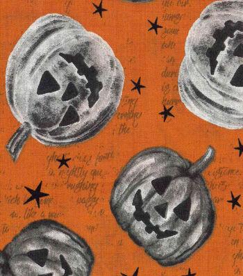 """Halloween Cotton Fabric 43""""-Star Pumpkins"""