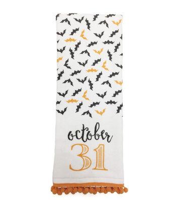 """Maker's Halloween Velour & Terry Hand Towel 16""""x28""""-October 31 & Bat"""