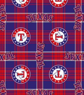 "Texas Rangers Fleece Fabric 58""-Plaid"