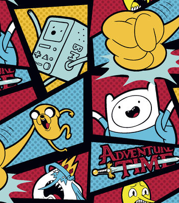 "Cartoon Network Adventure Time Fleece Fabric 59""-Adventure Time With Dots"