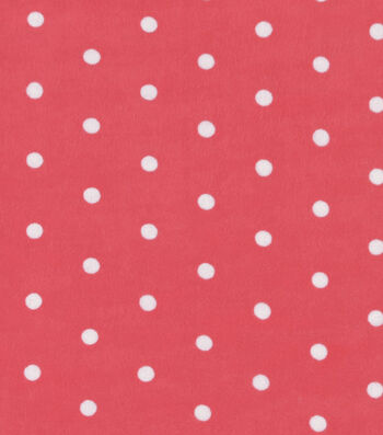 Snuggle Flannel Fabric 42''-Dots on Coral