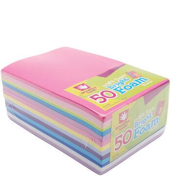 """Fibre Craft 5-1/2""""x8-1/2"""" Foam Sheets-50PK/Brights"""