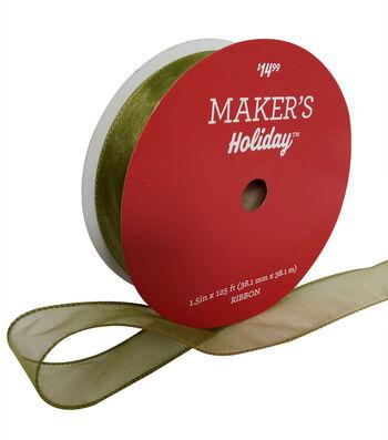 """Maker's Holiday Christmas Sheer Value Ribbon 1.5""""x125'-Sage"""