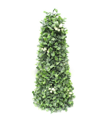 Blooming Holiday Christmas 14'' Boxwood Cone Tree with White Berry-Green
