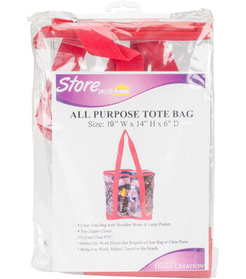 "All-Purpose Clear Tote Bag 19""X14""X6""-Red"