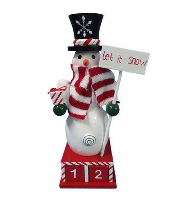 Maker's Holiday Christmas 10'' Snowman Countdown Nutcracker-Let It Snow