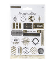 Teresa Collins Wanderlust Decorative Buttons & Chipboard-19 Pieces, , hi-res