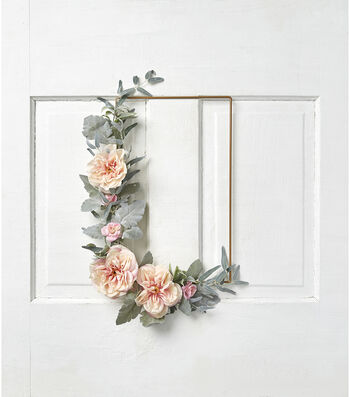 Fresh Picked Spring Rose & Leaves Rectangle Wreath