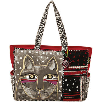 "Laurel Burch Oversized Tote Zipper Top 22.5""x5.5""x15.5""-Whiskered Cat"