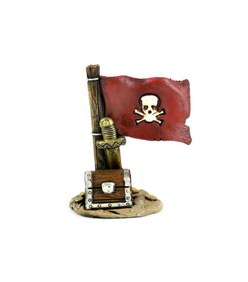 Bloom Room Littles Resin Pirate Flag with Treasure Chest & Sword
