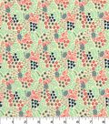 Quilter\u0027s Showcase Cotton Fabric 44\u0027\u0027-Coral, Mint & Gray Packed Floral