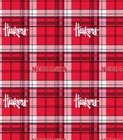 "University of Nebraska Cornhuskers Fleece Fabric 58""-Plaid, , hi-res"