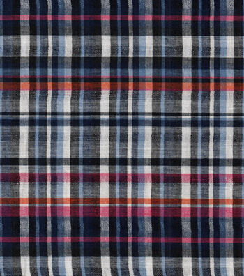 Doodles Woven Cotton Juvenile Apparel Fabric 44''-Navy Plaid