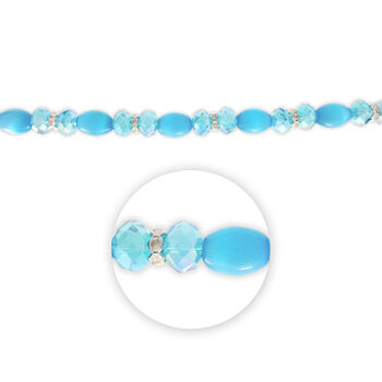 "Blue Moon Beads 7"" Crystal Strand, Cat's Eye, Metal Spacers, Light Blue"