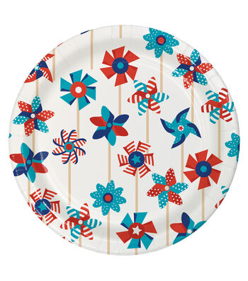 Americana Patriotic 8 Pack 7'' Paper Lunch Plates-Pinwheel
