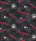 University of Georgia Bulldogs Flannel Fabric 42\u0022-Distressed Logo