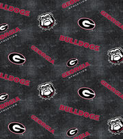 "University of Georgia Bulldogs Flannel Fabric 42""-Distressed Logo, , hi-res"