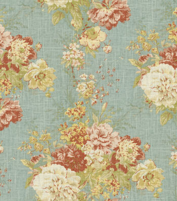 "Waverly Upholstery Fabric 55""-Ballad Bouquet Robin's Egg"