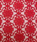Printed Stretch Knit Lace Fabric 58\u0027\u0027-Red Floral