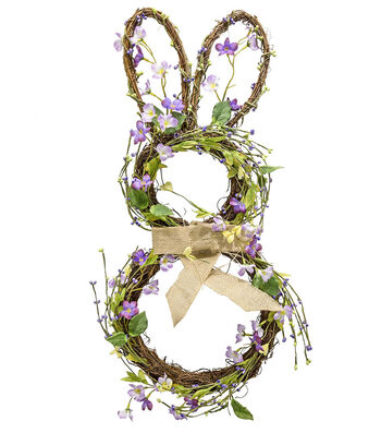 Easter Grapevine, Berry & Leaves Bunny Wreath