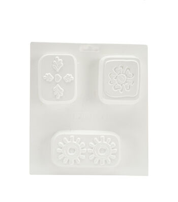 "Soapsations Soap Mold 8""X9""-3 Molds-Rectangles W/Flowers"
