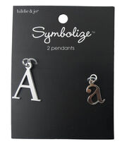 hildie & jo™ 2 Pack Letter 'A' Upper & Lower Case Silver Pendants, , hi-res