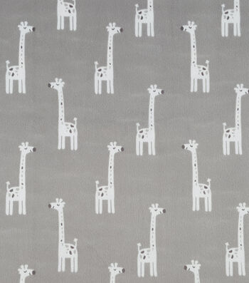 "Soft N Comfy Fabric 57""-Gray Giraffes"