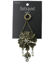 hildie & jo™ Antiquist Flower Antique Gold Pendant with Dangle, , hi-res