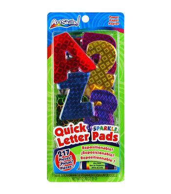 Quick Letter & Number Pads Repositionable 217/Pkg-Holographic Sparkle, W/Glue Stick