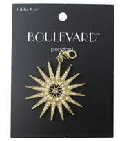 hildie & jo™ 2.75''x1.5'' Star Gold Pendant-Crystal & Pearls, , hi-res