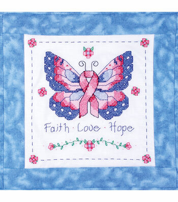 "Butterfly Of Hope Quilt Blocks Stamped Cross Stitch-15""X15"" 6/Pkg"