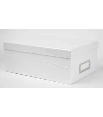 DCWV White Quatrefoil Storage Box