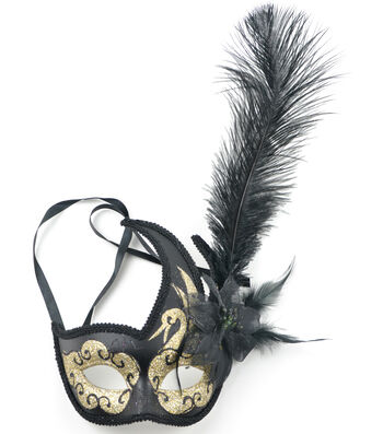 Maker's Halloween Half Mask with Feathers-Black & Gold