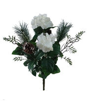 Blooming Holiday Christmas Hydrangea, Pine & Pinecone Mix Spray-White, , hi-res