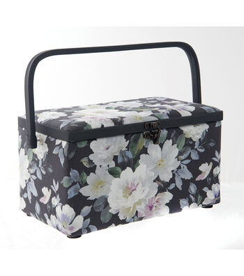 Medium Rectangle Sewing Basket-Charcoal Floral