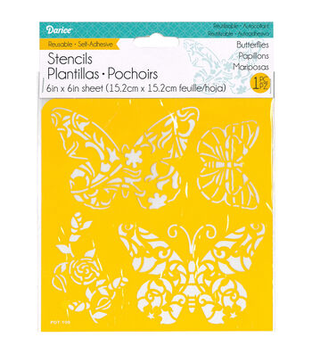 Darice® 6''x6'' Reusable Self-Adhesive Stencil-Butterflies