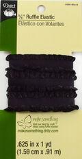 Dritz 5/8\u0022  Ruffle Elastic Black 1 Yard