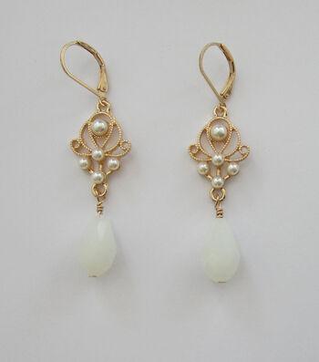 hildie & jo™ Gold Dangle Earrings-Pearls