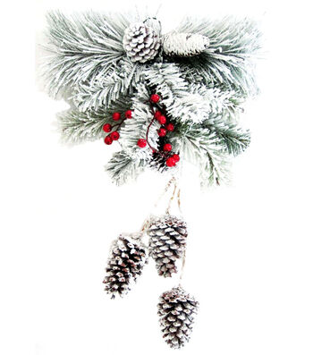 Blooming Holiday Christmas Snowed Pinecone, Berry & Greenery Wall Decor