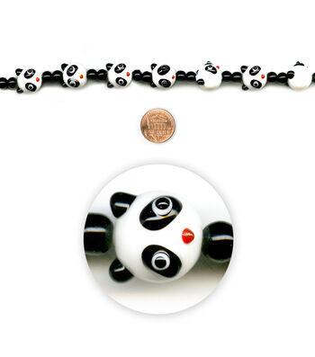 """Blue Moon Beads 7"""" Strand, Lampworked Glass Panda"""