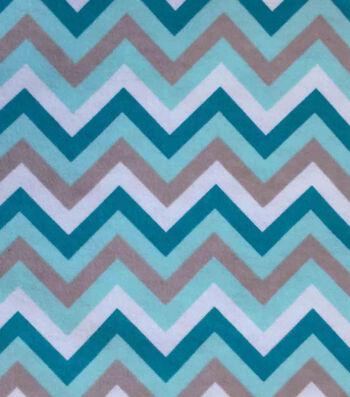 "3 Yard Pre-Cut Snuggle Flannel Fabric 42""-Chevron Aqua Sky"