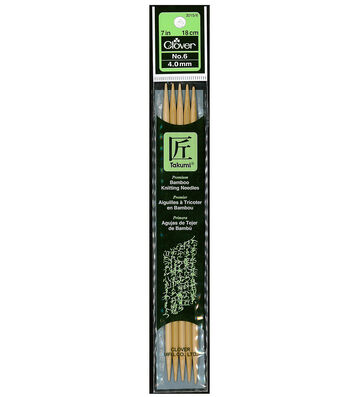"Clover Bamboo Double Point Knitting Needles 7""-Size 6"