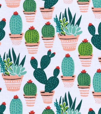 "Snuggle Flannel Fabric 42""-Potted Cacti"