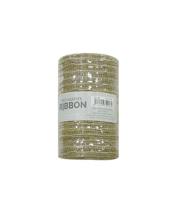 Decorative Ribbon Metallic Deco Mesh 5.5''x10 yds-Natural Jute