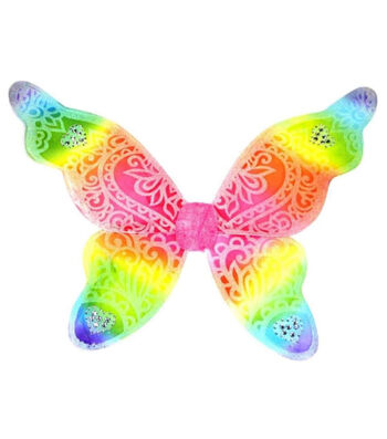 Maker's Halloween Large Glitter Wings-Rainbow