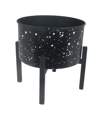Hello Spring Gardening Large Metal Plant Stand-White Speckle on Black