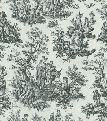 """Waverly Upholstery Fabric 54""""-Rustic Toile Black"""